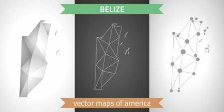 Belize gray graphic vector triangle geometry outline shadow perspective maps.Graphic modern maps.