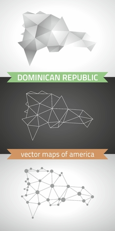Dominican Republic. Set of graphical vector maps of Dominican Republic, polygon, gray, mosaic, triangle illustrations