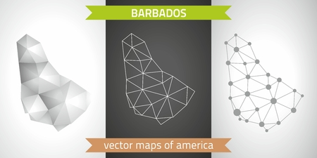 Barbados graphical vector maps of Barbados, polygonal, gray, mosaic, triangle illustrations