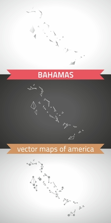 The Bahamas graphic vector maps of the Bahamas, polygonal, gray, mosaic, triangle illustrations Çizim