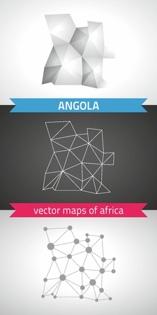 Angola set of gray and silver mosaic 3d polygonal maps. Graphic vector triangle geometry outline shadow perspective maps Illustration