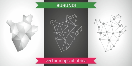 Burundi set of gray and silver mosaic 3d polygonal maps. Graphic vector triangle geometry outline shadow perspective maps