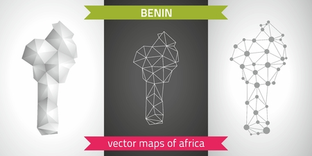 Benin graphic vector maps of Benin, polygon, gray, mosaic, triangle illustrations Çizim