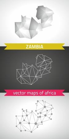 transverse: Zambia graphic vector maps of Zambia, polygon, gray, mosaic, triangle illustrations Illustration