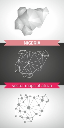 Nigeria graphical vector maps of Nigeria, polygon, gray, mosaic, triangle illustrations
