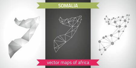 Somalia set of gray and silver mosaic 3d polygonal maps. Graphic vector triangle geometry outline shadow perspective maps