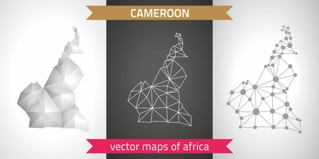 Cameroon graphic vector maps of Cameroon, polygon, gray, mosaic, triangle illustrations