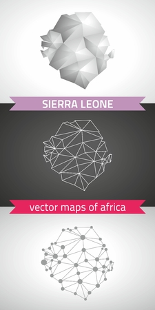 Sierra Leone set of gray and silver mosaic 3d polygonal maps. Graphic vector triangle geometry outline shadow perspective maps