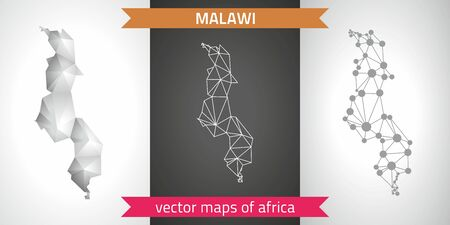 Malawi collection of vector design modern maps, gray and black and silver dot mosaic 3d map