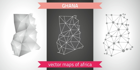 Ghana set of gray and silver mosaic 3d polygonal maps. Graphic vector triangle geometry outline shadow perspective maps Çizim