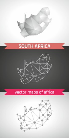 South Africa collection of vector design modern maps, gray and black dotted contour mosaic 3d map