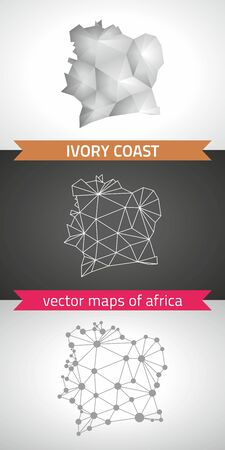 Ivory Coast collection of vector design modern maps, gray and black dotted contour mosaic 3d map