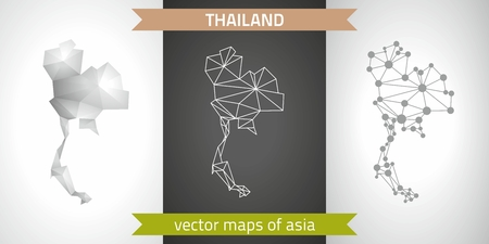Thailand set of gray and silver mosaic 3D polygonal maps. Graphic vector geometry triangle outline perspective shadow maps