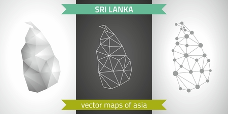 Sri Lanka collection of vector design modern maps, gray and black and silver dot outline mosaic 3d map