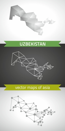 transverse: Uzbekistan set of gray and silver mosaic 3d polygonal maps. Graphic vector triangle geometry outline shadow perspective maps Illustration