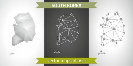 South Korea collection of modern design vector maps, gray and black and silver mosaic 3d dot outline map