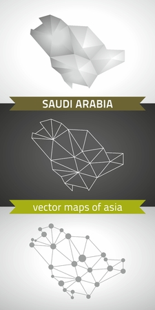 transverse: Saudi Arabia set of gray and silver mosaic 3d polygonal maps. Graphic vector triangle geometry outline shadow perspective maps Illustration