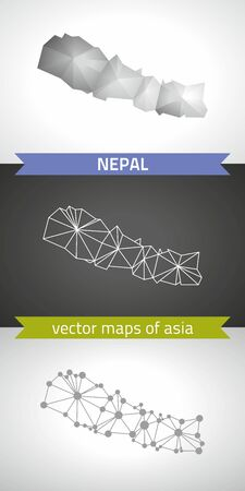Nepal collection of modern design vector maps, gray and black and silver mosaic 3d dot outline map Çizim