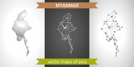 Myanmar collection of modern design vector maps, gray and black and silver mosaic 3d dot outline map Çizim