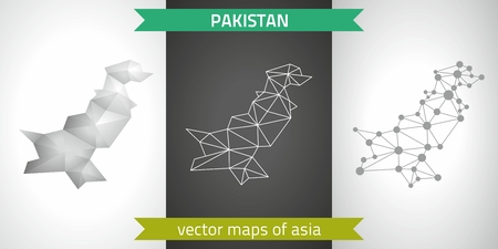 transverse: Pakistan set of gray and silver mosaic 3D polygonal maps. Graphic vector geometry triangle outline perspective shadow maps Illustration