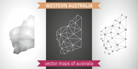 Western Australia collection of modern design vector maps, gray and black and silver mosaic 3d dot outline map
