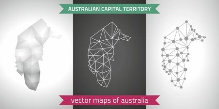 グレーとシルバーのオーストラリア首都特別地域のセットは、3 d ポリゴン マップをモザイクします。グラフィック ベクトル三角形幾何学概要シャ