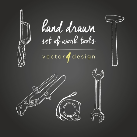 Hand drawn vector working tools on blackboard.DIY tools