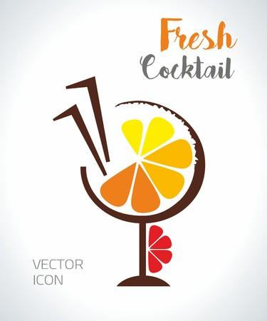 Icône de vecteur orange cocktail savoureux frais Banque d'images - 98540143