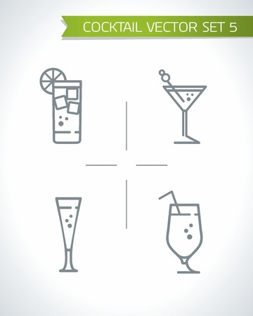 Alcohol cocktail and drink icon set Vector illustration.