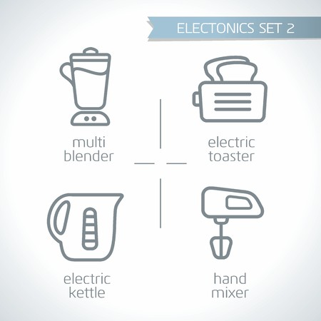 Electronic device outline, vector icon set with white background, multi-blender, electric toaster, electric kettle, hand mixer