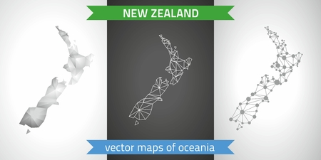 New Zealand collection of vector design modern maps, gray and black dotted contour mosaic 3d map Çizim