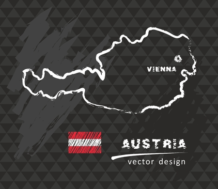 Austria map, vector drawing on black background