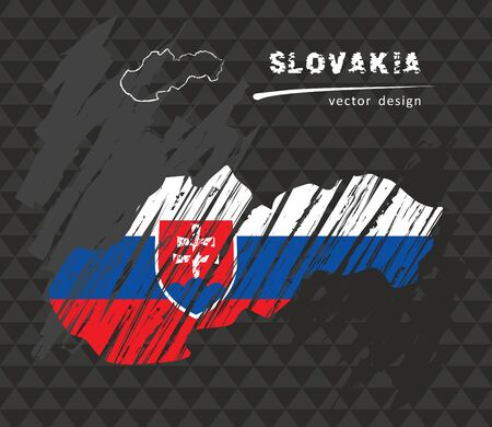 Map of Slovakia with flag in the blackboard. Chalk sketch vector illustration
