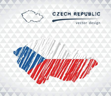 Czech Republic vector map with flag isolated on white background. Sketch chalk hand drawn illustration