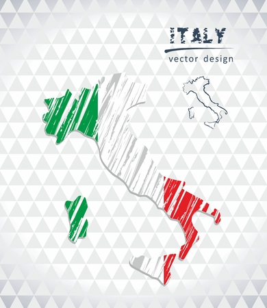 Map of Italy with hand drawn sketch map inside. Vector illustration Ilustração