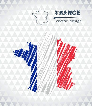Map of France with hand drawn sketch map inside. Vector illustration Illustration