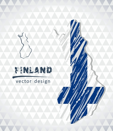 Finland vector map with flag inside isolated on a white background. Sketch chalk hand drawn illustration