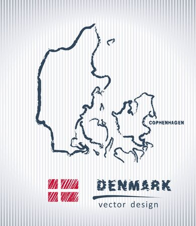 Danmark national vector drawing map on white background