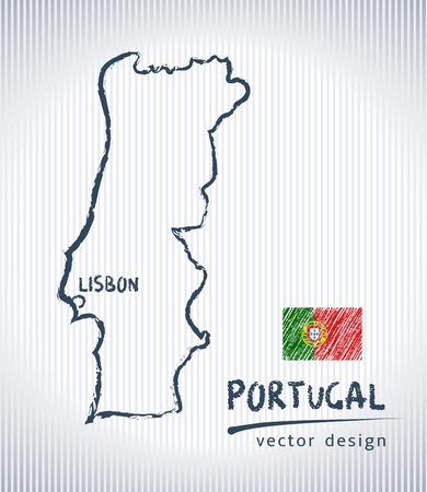 Portugal national map drawing on white background  イラスト・ベクター素材