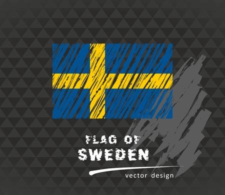 Flag of Sweden, vector chalk illustration on black background Vectores