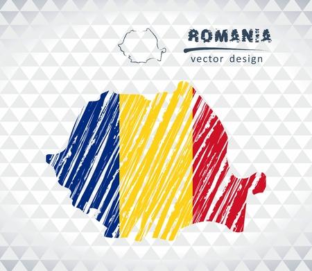 Carte vectorielle roumanie avec le drapeau isolé sur fond blanc. main croquis illustration main dessinée Banque d'images - 99290181
