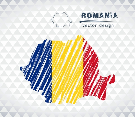 Romania vector map with flag isolated on white background. Sketch chalk hand drawn illustration Stock Illustratie