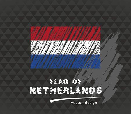 Netherlands flag, vector sketch of hand drawn illustration on dark grunge background
