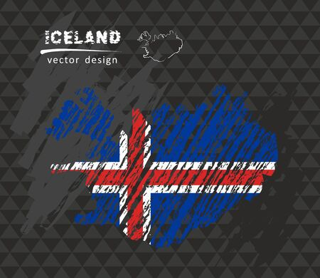 Iceland map with flag in the blackboard. Chalk sketch vector illustration