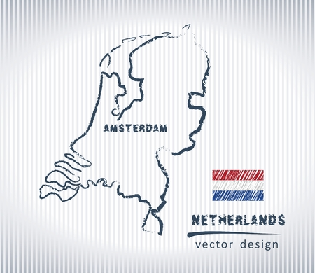 Netherlands vector chalk drawing map isolated on a white background