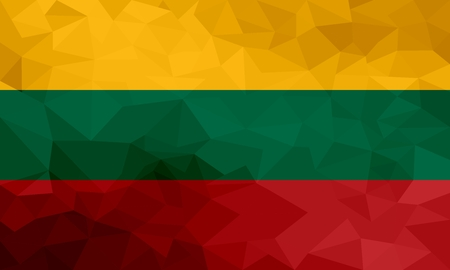 Lithuania polygonal flag. Mosaic modern background. Geometric design
