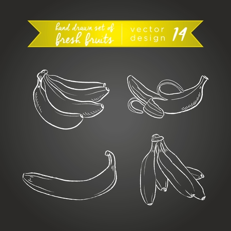 Banana. Set of fresh fruits, whole, half and bitten with leaf. Vector Illustration Keywords: Isolated on blackboard. |