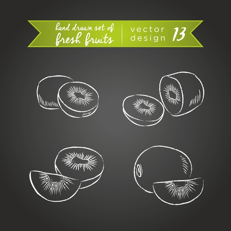 Kiwi. Set of fresh fruits, whole, half and bitten with leaf. Vector Illustration Keywords: Isolated on blackboard. |