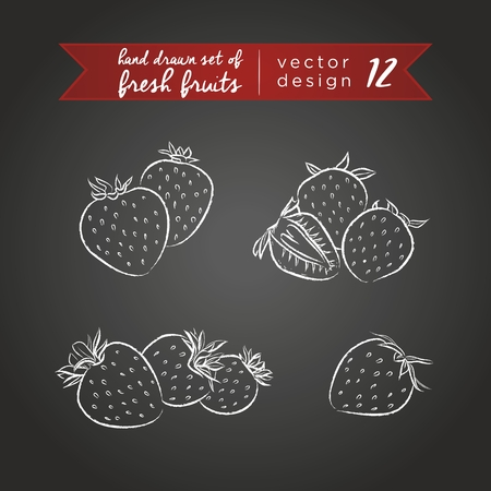 Strawberry. Set of fresh fruits, whole, half and bitten with leaf. Vector Illustration Keywords: Isolated on blackboard. |