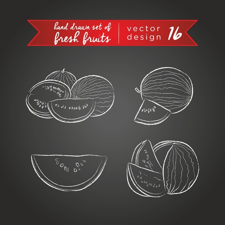Melon. Set of fresh fruits, whole, half and bitten with leaf. Vector Illustration Keywords: Isolated on blackboard. |